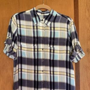 Equipment Short Sleeve Striped Silk Shirt